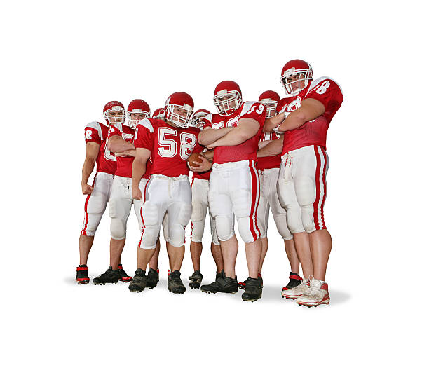 Offensive Line with Clipping Path Offensive line with BIG attitude.  football lineman stock pictures, royalty-free photos & images