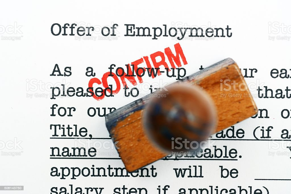 Offer of employment - confirm stock photo