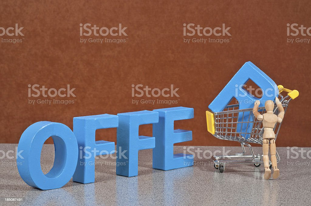 Offer - Wooden Mannequin demonstrating this word stock photo