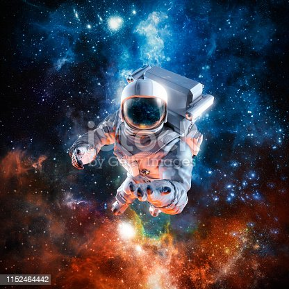 3D illustration of science fiction scene with astronaut floating in outer space reaching with open hand towards viewer