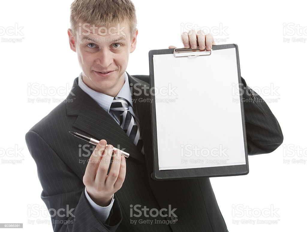 Offering a pen to sign the contract royalty-free stock photo