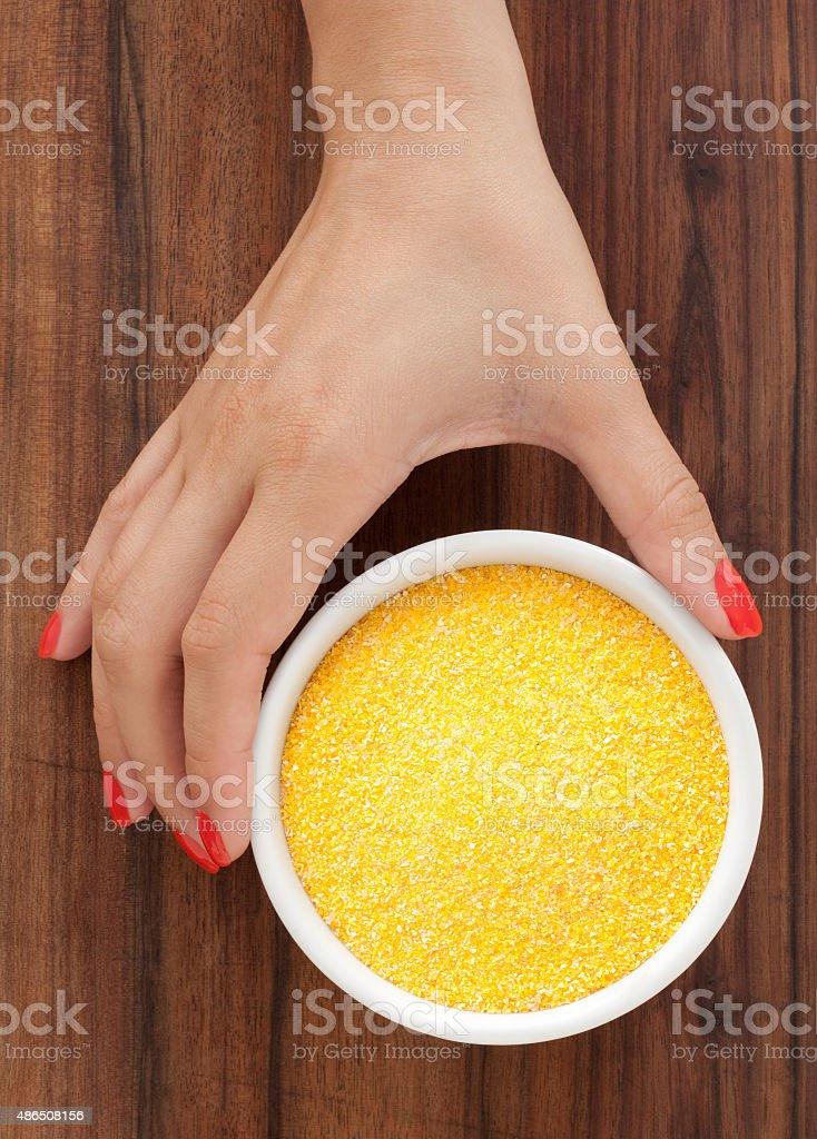 Offering corn flour stock photo