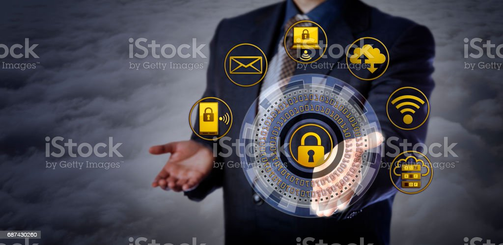 Offering Cybersecurity Mechanism Above The Clouds stock photo