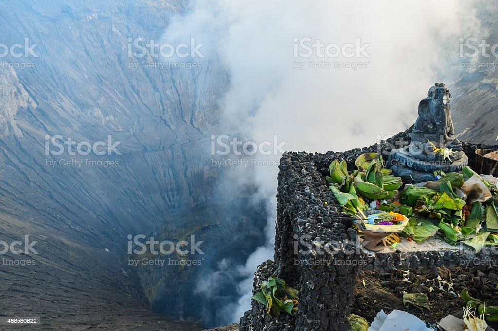 offering for volcano - bromo Semeru stock photo