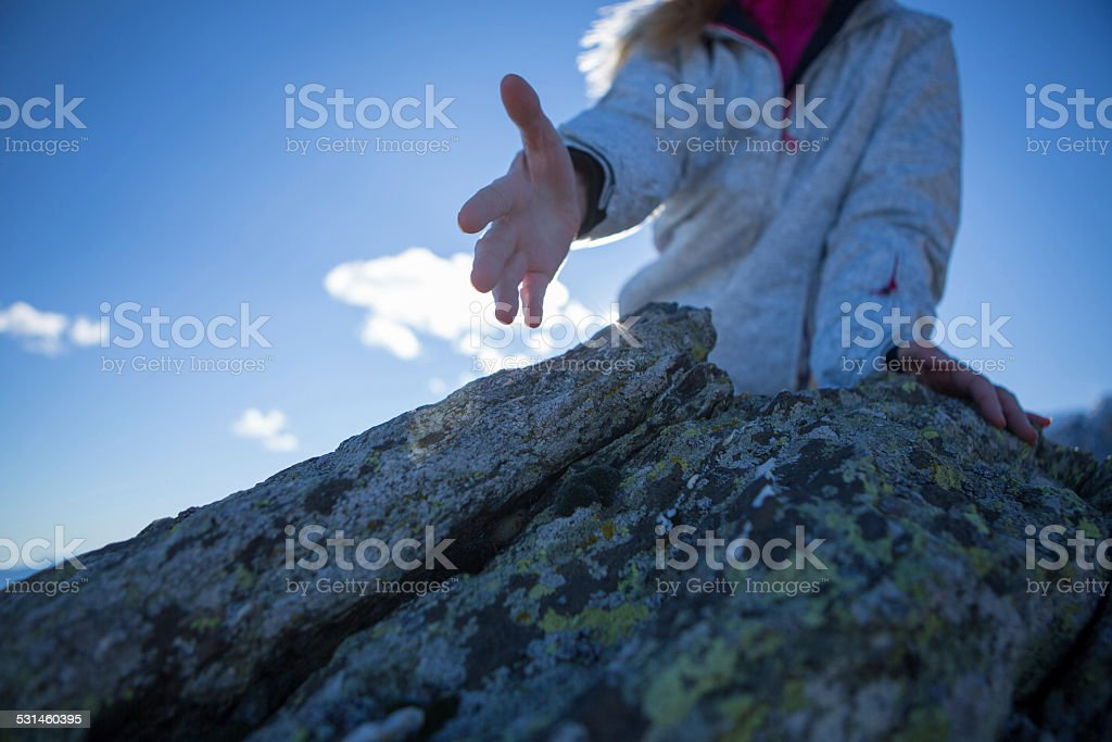 Offering hand for success stock photo