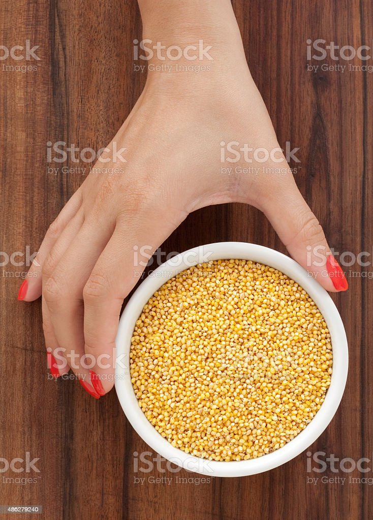 Offering millet stock photo