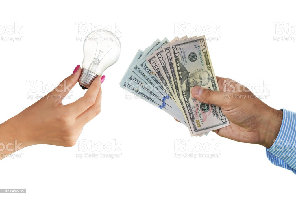 Offering money for brilliant ideas with light bulb and cash money isolated on white background, stock photo