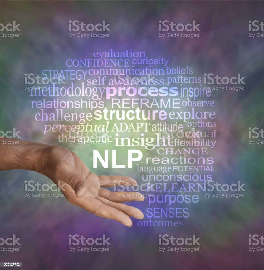 Offering Neuro Linguistic Programming NLP word cloud stock photo
