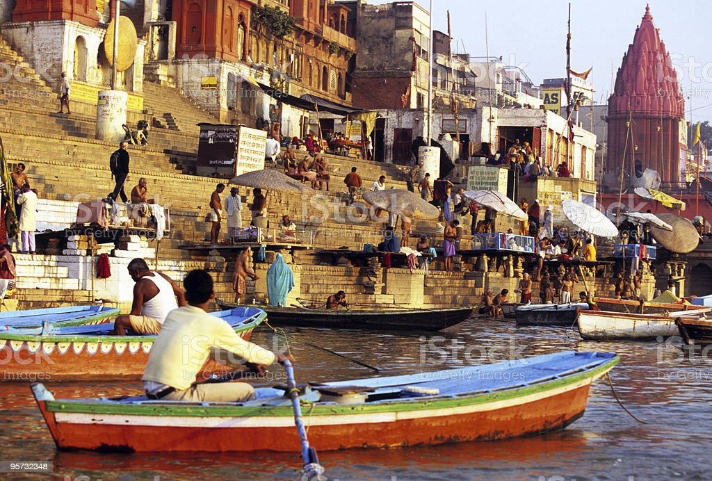 Offering on the Ganges, Varanasi, India stock photo