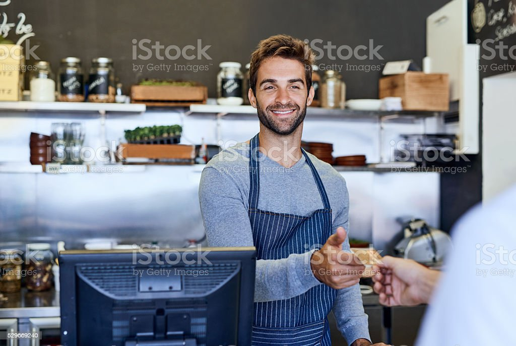 Offering the friendliest service stock photo