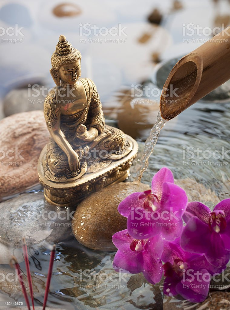offering to religious Buddha in water environment stock photo