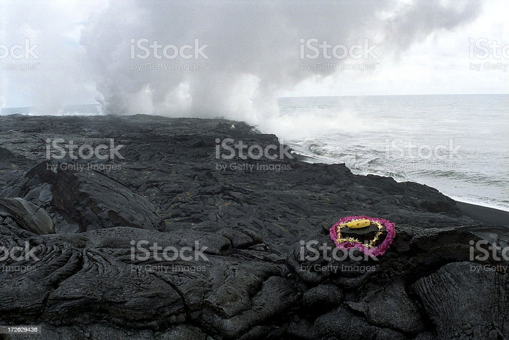 Offering to the Volcano Goddess stock photo