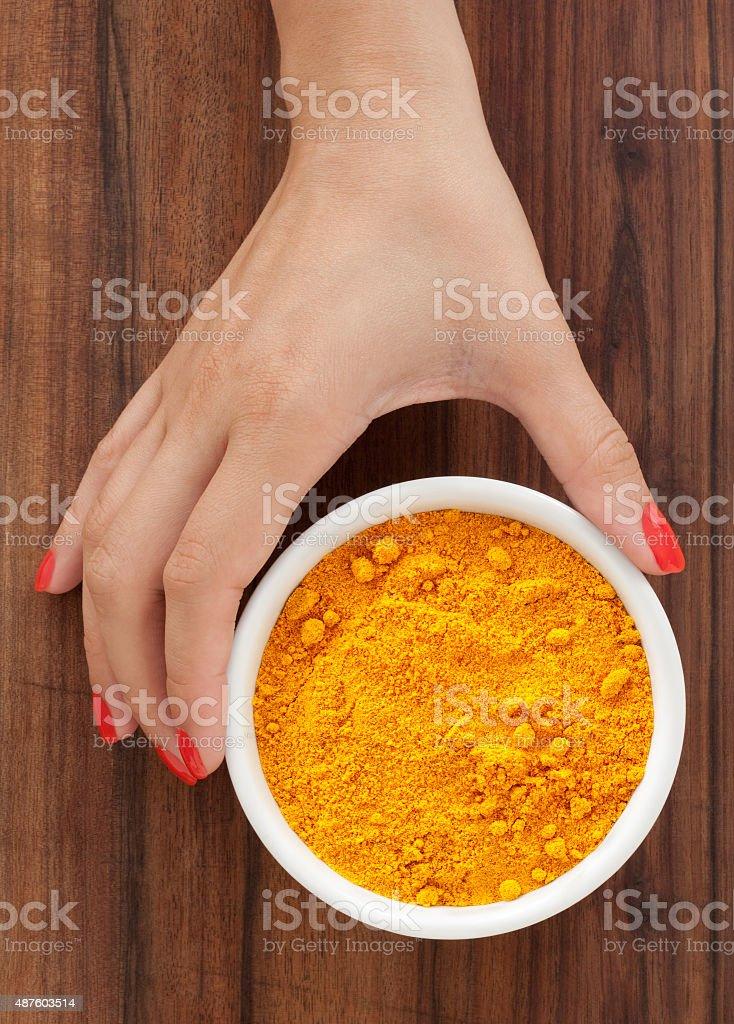 Offering turmeric stock photo