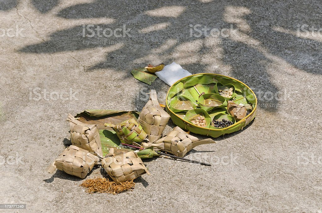 Offerings for the divine - Bali Indonesia royalty-free stock photo
