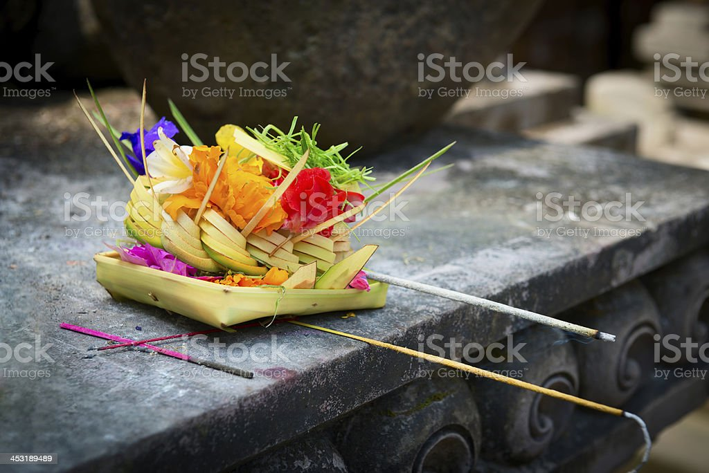 Offerings to gods in Bali stock photo