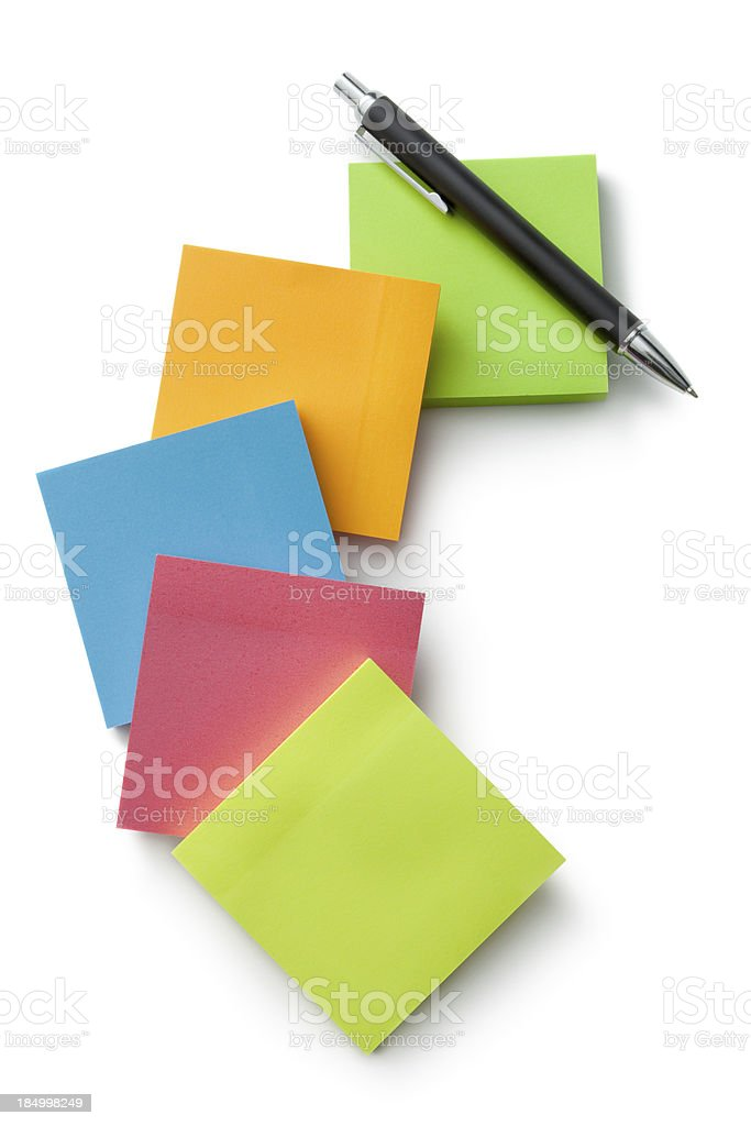 Office: Adhesive Notes and Ballpoint Pen royalty-free stock photo