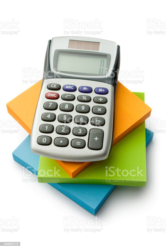 Office: Adhesive Notes and Calculator royalty-free stock photo