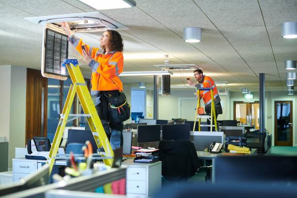 office aircon servicing stock photo