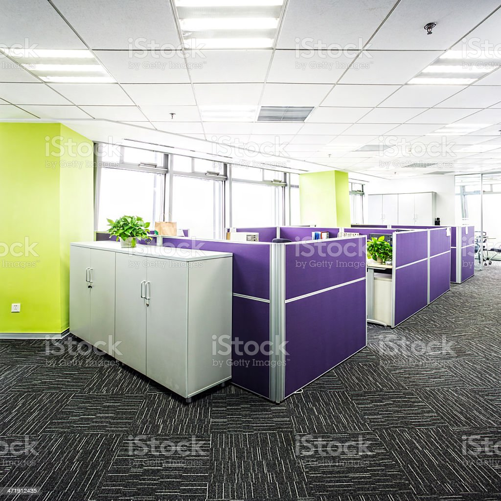 Office aisle with cubicles royalty-free stock photo