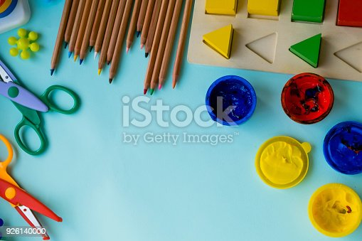 istock Office and student accessories on a pink. Back to school concept. School, education and learning concept. creativity for kids. Top view colorful background. Flat lay. 926140000
