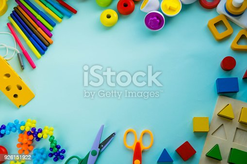 istock Office and student accessories on a pink. Back to school concept. School, education and learning concept. creativity for kids. Top view colorful background. Flat lay. 926151922