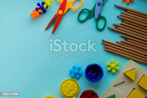 istock Office and student accessories on a pink. Back to school concept. School, education and learning concept. creativity for kids. Top view colorful background. Flat lay. 926151996