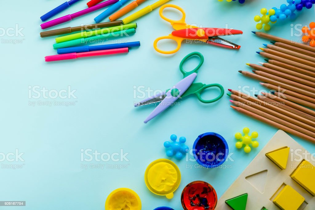 Office and student accessories on a pink. Back to school concept. School, education and learning concept. creativity for kids. Top view colorful background. Flat lay. stock photo