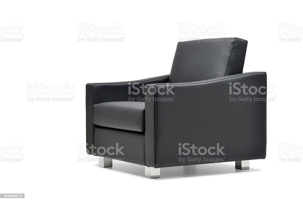 Office armchair in black leather stock photo