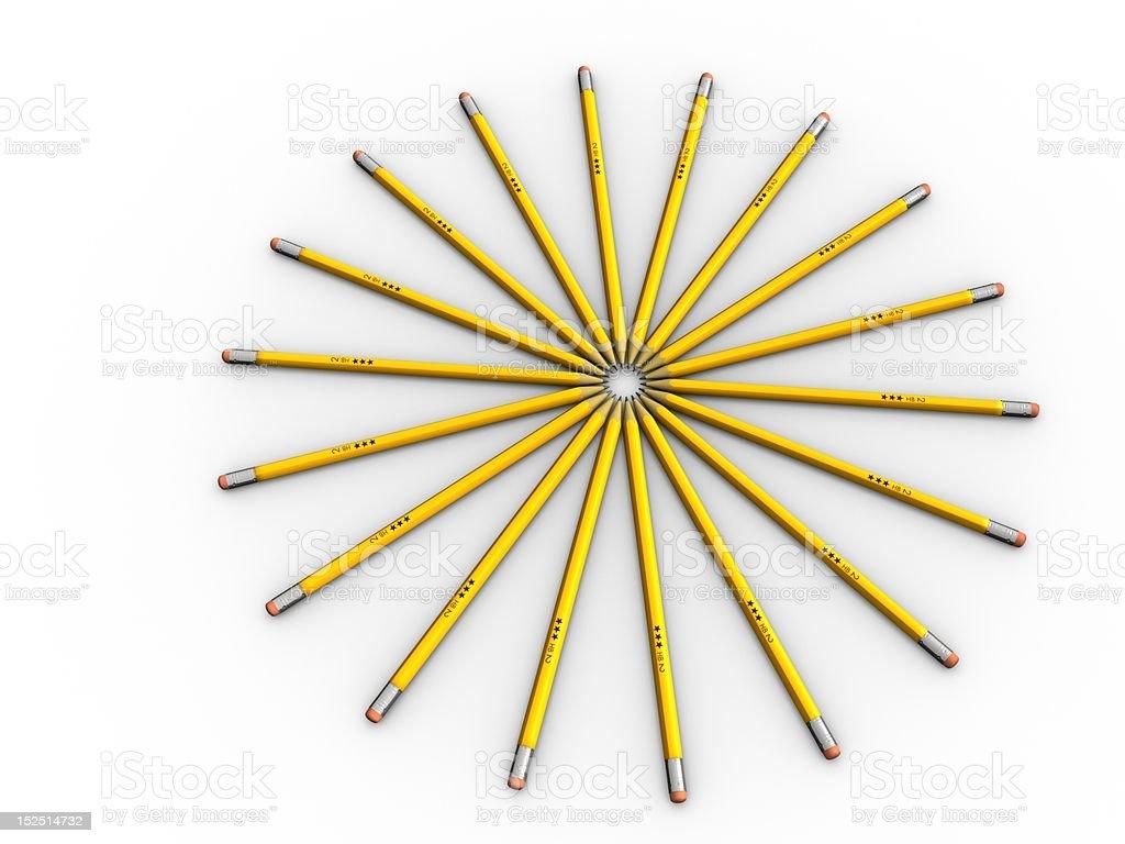 Office Art - Sun Beams Pencils in a circle. Abstract Stock Photo