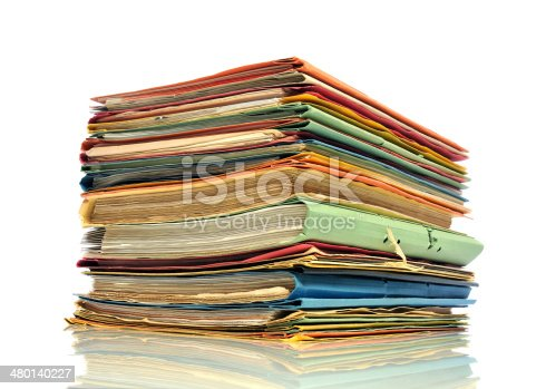 Stack of office binder on white background