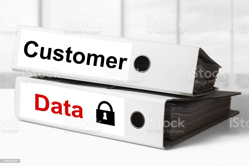 office binders customer data security stock photo