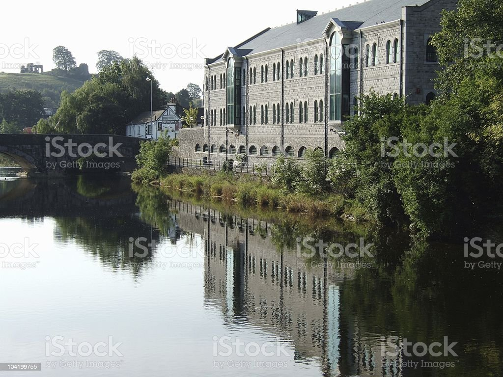Office block beside the river Kent in Kendal, Cumbria stock photo