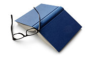 istock Office: Book and Reading Glasses Isolated on White Background 844378308