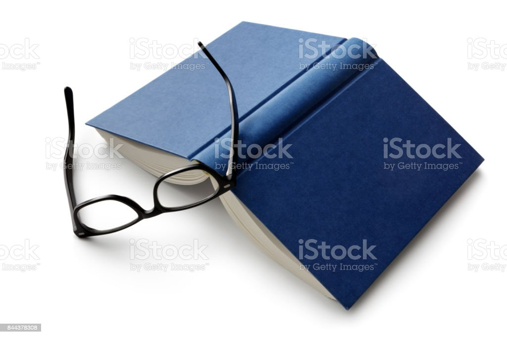 Office: Book and Reading Glasses Isolated on White Background stock photo