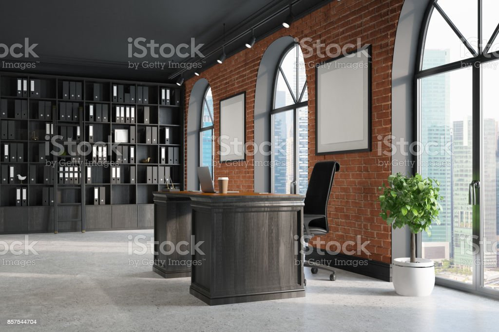 CEO office, bookcase and table, corner stock photo