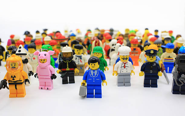 office boy stand out from other - lego stockfoto's en -beelden