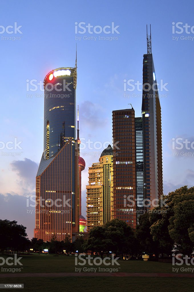 Office building and city park royalty-free stock photo