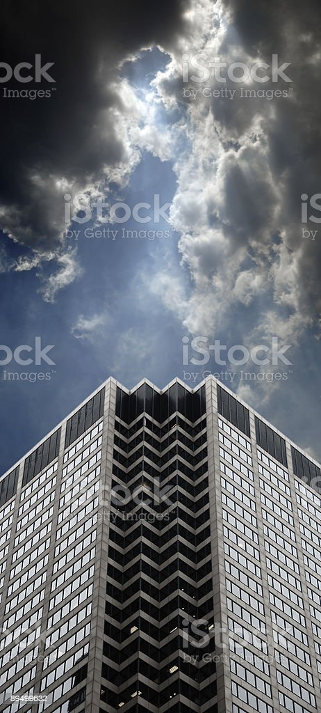 Office Building and Dramatic Clouds stock photo