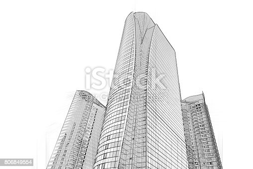 821915804 istock photo Office building architectural drawing sketch 806849554