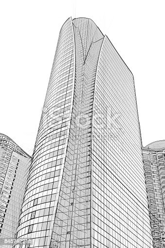 821915804 istock photo Office building architectural drawing sketch 845742218