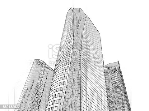 821915804 istock photo Office building architectural drawing sketch 862132922
