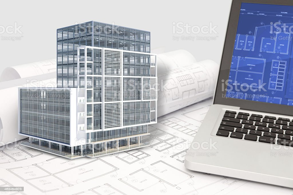 Office building architecture cad project with blueprint and computer office building architecture cad project with blueprint and computer royalty free stock photo malvernweather Image collections