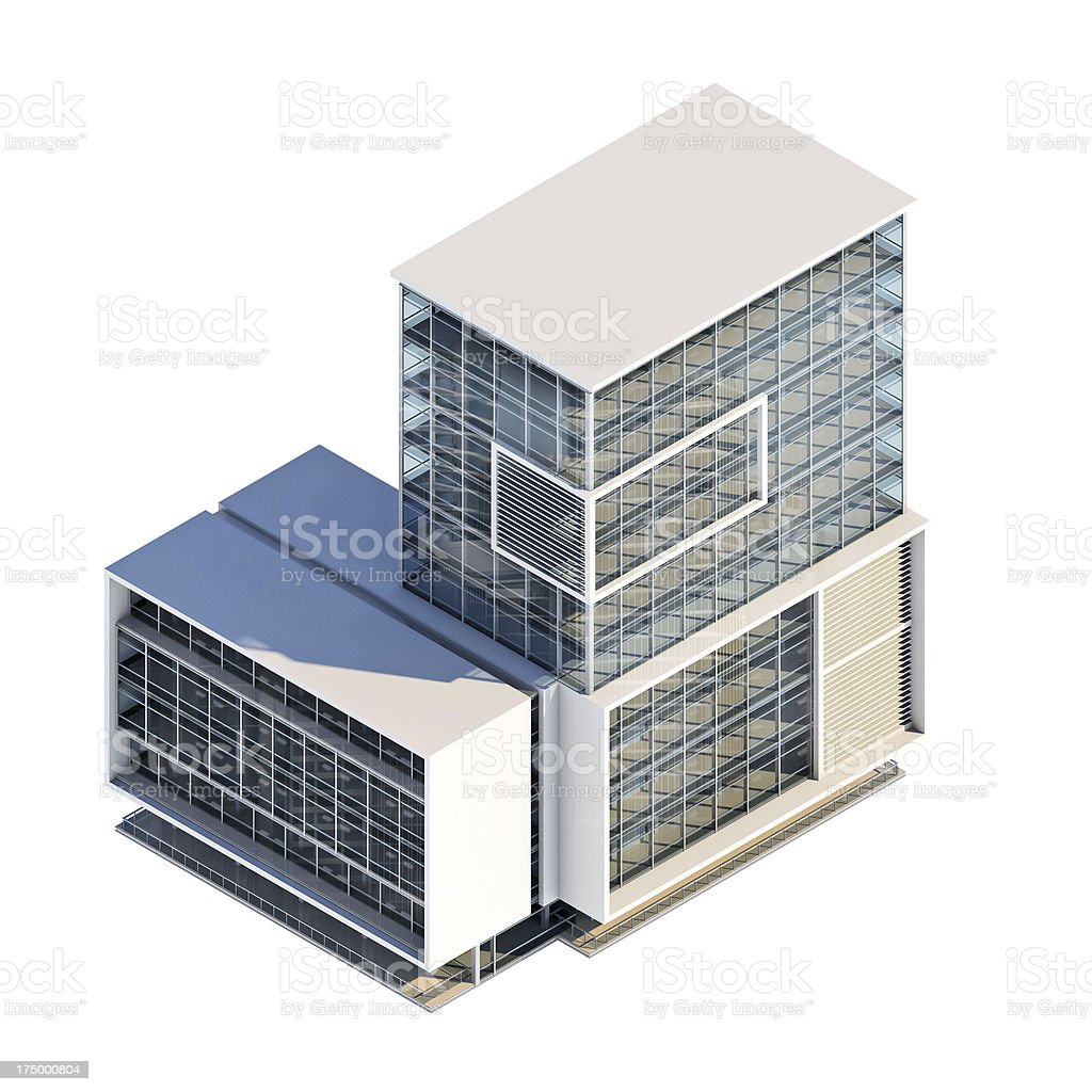 Office building axonometry, isolated on white stock photo
