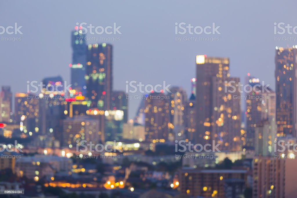 Office building blurred lights night view, abstract background royalty-free stock photo