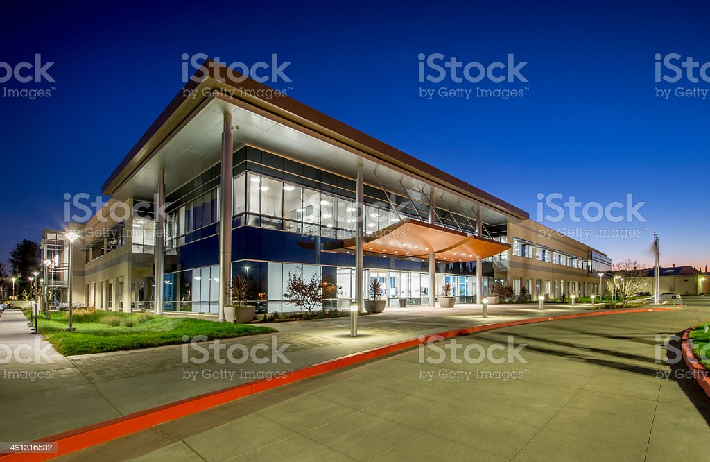 Office Building, California, Night. stock photo