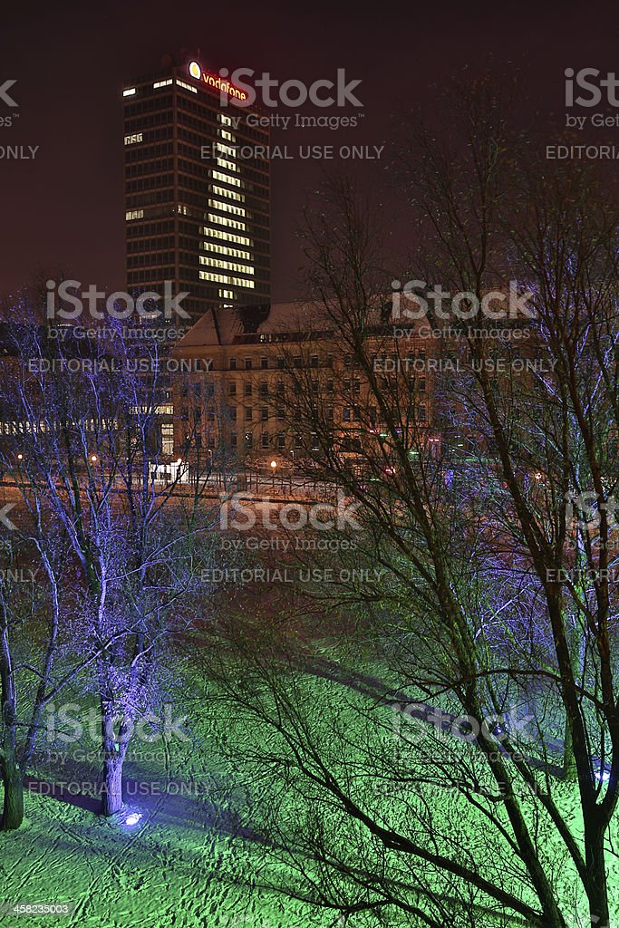office building christmas tree royalty-free stock photo