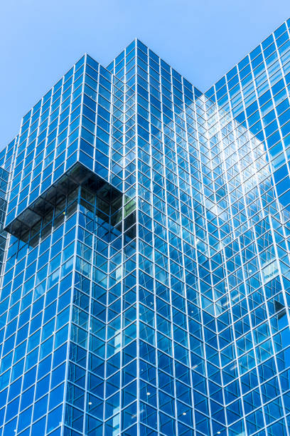 Office building exterior, modern architecture, close up stock photo