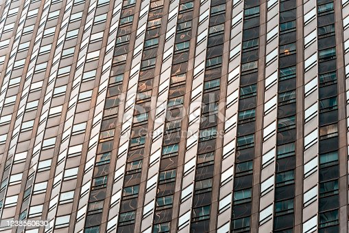 The facade of a skyscraper in Manhattan, NYC.