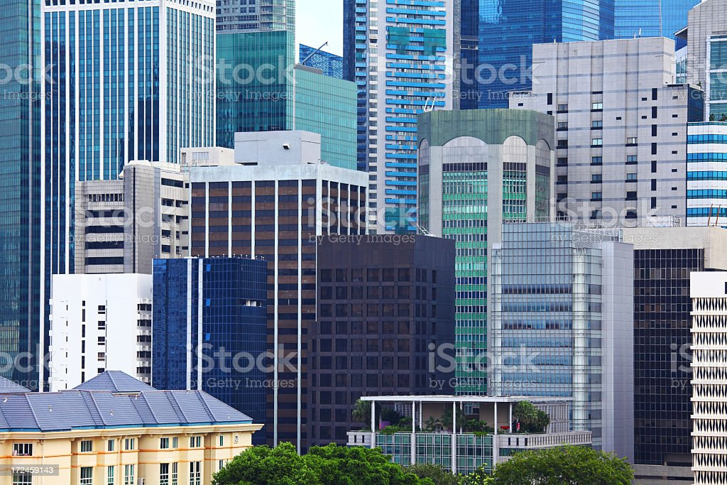 Office building group in Singapore royalty-free stock photo