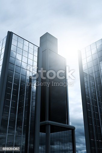 istock Office building in front of cloudy sky 659084062